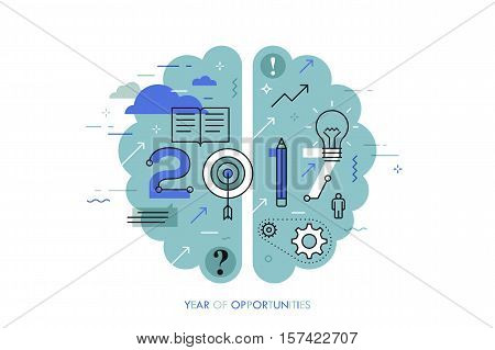 Infographic concept 2017 year of opportunities. New hot trends and prospects in education, global learning, idea generation, self-improvement techniques. Vector illustration in thin line style.
