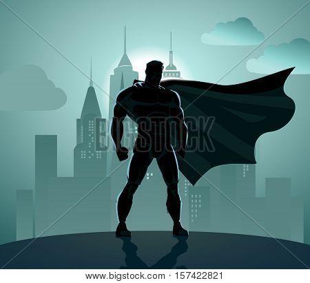 Superhero in City: Superhero watching over the city. Vector illustration