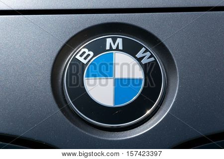 TURIN, ITALY - JUNE 9, 2016: BMW logo on a black car body