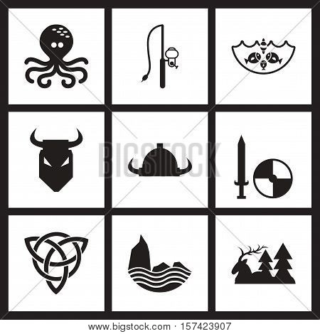 Concept flat icons in black and  white Celts