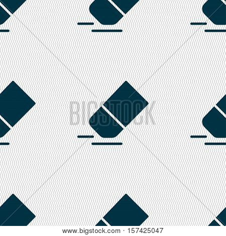 Eraser, Rubber Icon Sign. Seamless Pattern With Geometric Texture. Vector