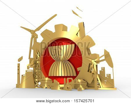 Asia- October 31, 2016: An illustration of Energy and Power icons set with ASEAN emblem in the gear frame. 3D rendering. Golden material