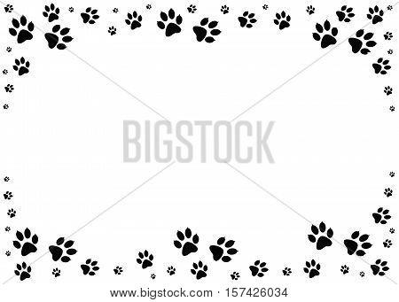 Paw prints, animal tracks border. Steps animal drawn for the design of backdrops.