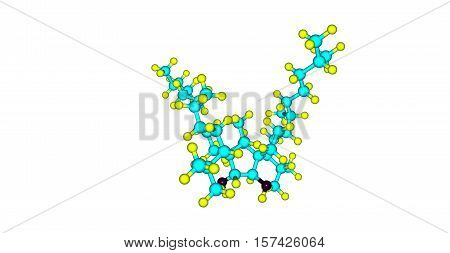 Bilobol is an alkylresorcinol a type of phenolic lipids composed of long aliphatic chains and phenolic rings. It is an irritant. 3d illustration