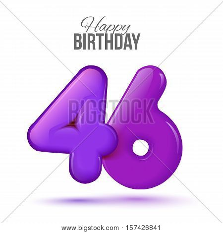 forty six birthday greeting card template with 3d shiny number forty six balloon on white background. Birthday party greeting, invitation card, banner with number 46 shaped balloon