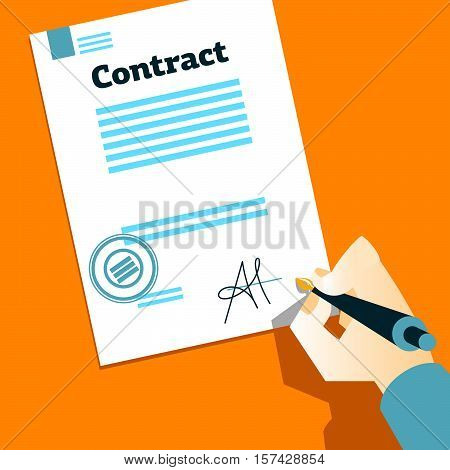 Hand signs contract. Facsimile. Hand with pen. Vector illustration
