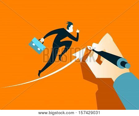 Hand draws an arrow. It helps business executives to succeed. Vector illustration