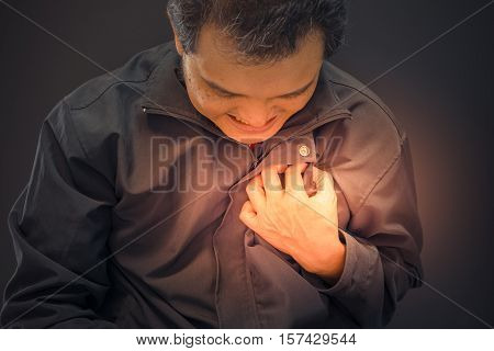 Asia Man Pain From Disease Heart Attack