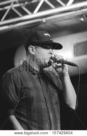 SOUTHAMPTON, UK, October 28 2016: Dryden Mitchell, vocalist with Alien Ant Farm performing at  the Engine Rooms, Southampton, Hampshire, UK