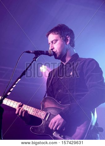SOUTHAMPTON, UK, November 3 2016: Joel Stoker, lead singer of The Rifles performing at the Engine Rooms, Southampton, Hampshire UK