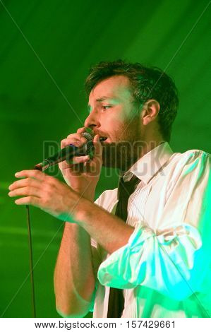 SOUTHAMPTON, UK, October 22 2016: Jonathan Scratchley, lead singer with British  band Gentleman's Dub Club  performing at the Engine Rooms, Southampton, Hampshire UK