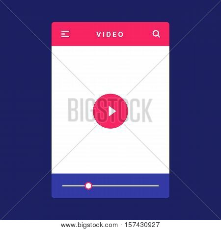 UI, UX and GUI template layout for Mobile Apps. Video screen. Pink and blue color ux app. User interface. Video controls. Timeline controls for mobile app.