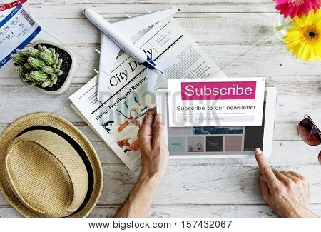Subscribe Member Register Social Advertising Concept