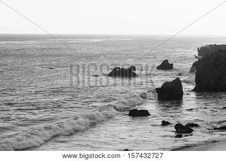 El Matador State Beach In Black And White