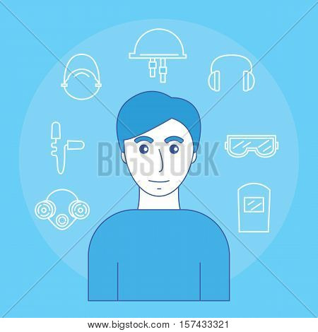 Image of man and icons of personal protective equipment sight hearing smell and head. Vector illustration.