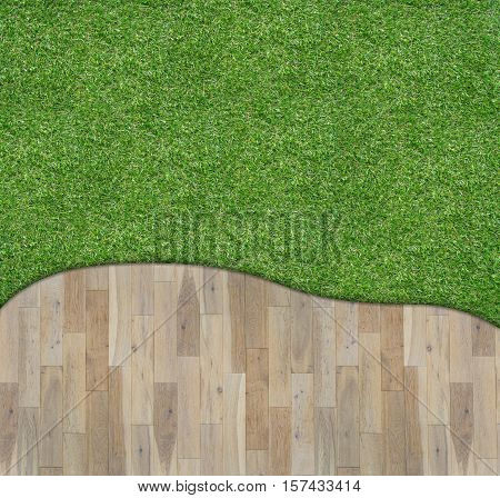 Wooden board on green grass - stock photo