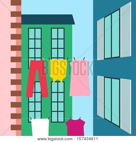 Laundry drying Vector illustration Laundry drying on the clothesline stretched between the buildings Flat design