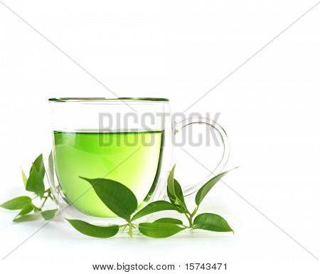 healthy green tea cup on white background
