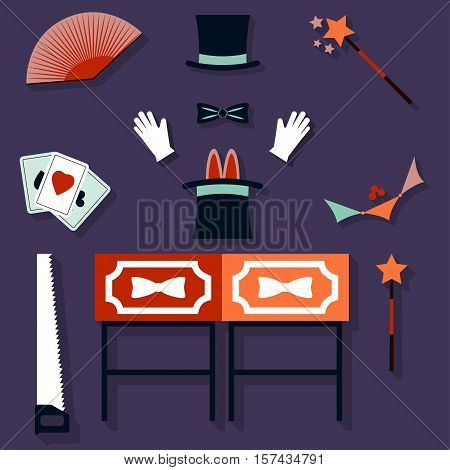 Set of magician Vector illustration Glove, hat, magic wand and set of tools of magician Flat design