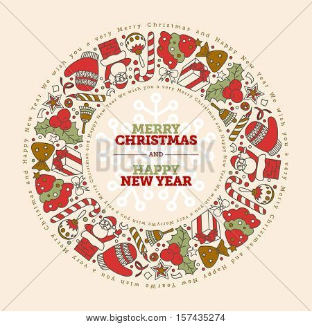 Vector Christmas and New Year Greeting Card Design Template. Hand drawn doodles with pastel Christmas colors.