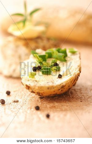bread slice with butter and green onion, healthy breakfast