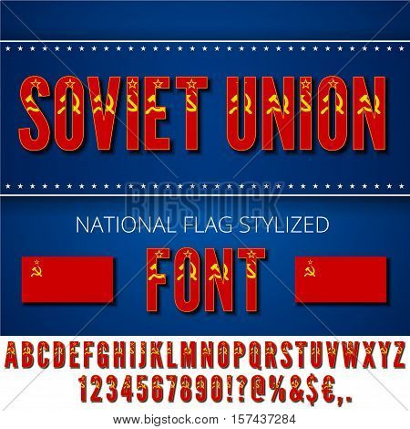 Soviet Union USSR National flag stylized Font. Alphabet and Numbers in Vector Set