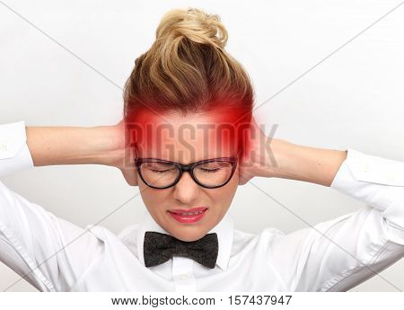 Headache. Woman having headache on white background
