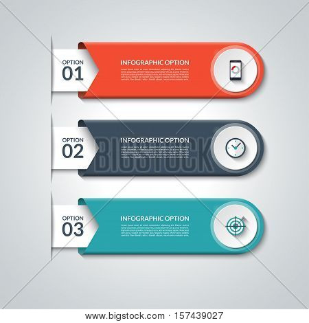 Modern infographic elements. Vector banner with 3 options. Design template with circles and icons. Can be used for workflow layout, diagram, report, number and step up options, web design.