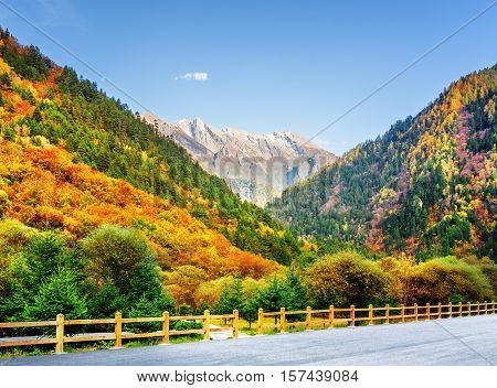 Mountain View From Road In Jiuzhaigou Nature Reserve, China