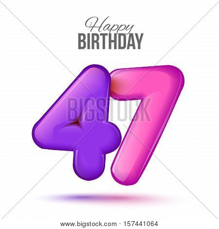 forty seven birthday greeting card template with 3d shiny number forty seven balloon on white background. Birthday party greeting, invitation card, banner with number 47 shaped balloon