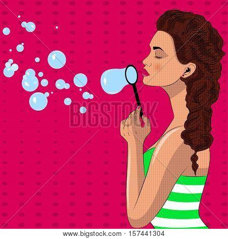 Pretty pop art girl blowes soap bubbles. Soap bubbles. Pop art vector illustration.
