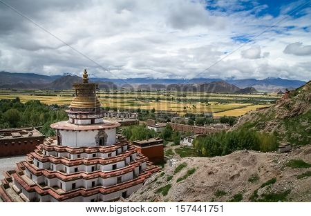 The Buddhist Kumbum chorten, Palkhor Monastery and the aerial view of the walled Gyantse town in the Tibet Autonomous Region of China