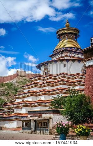 The Buddhist Kumbum chorten in Gyantse in the Tibet Autonomous Region of China