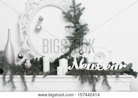 Christmas decoration in white and green. Christmas home interior in white and green