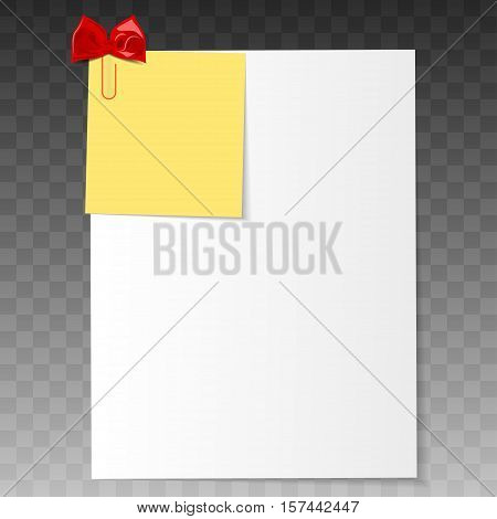 Realistic a4 paper with clipped reminder. Creative clip with paper. Realistic vector office suppliers.