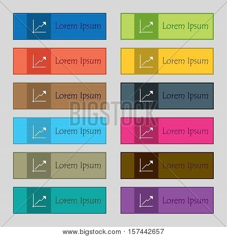 Chart Icon Sign. Set Of Twelve Rectangular, Colorful, Beautiful, High-quality Buttons For The Site.