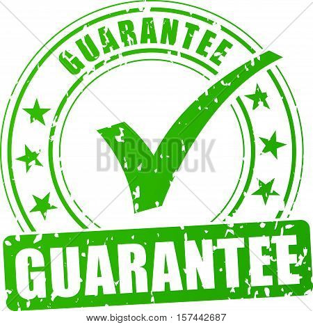 Illustration of guarantee stamp icon on white background