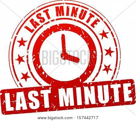Illustration of last minute stamp icon on white background