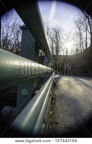 Railing Blackstone River Bikeway vignetting sun flare