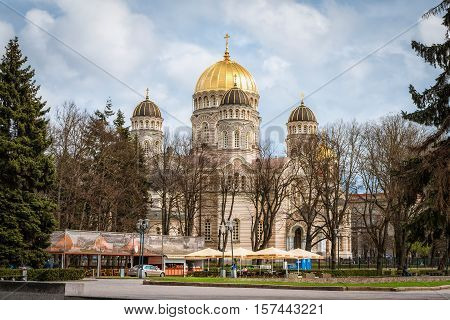 Riga Latvia - April 22 2016: Russian orthodox cathedral of the Nativity of Christ in Riga Latvia as seen on 22nd of April 2016.