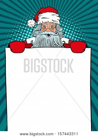 Wow pop art Santa Claus in red costume with surprised face and open mouth holding a banner in his hands. Vector illustration in retro pop art comic style. Christmas comic background.