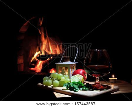 fireplace grape cognac lemon antiflu candle lime