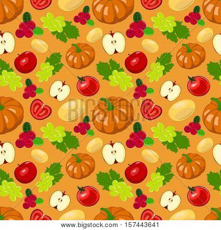 Seamless illustration of harvest fruits and vegetables. Thanksgiving background. Autumn seasonal seamless vector illustration.