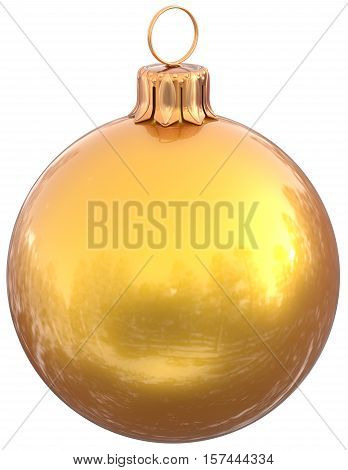 Christmas ball yellow New Years Eve bauble decoration shiny wintertime hanging sphere adornment souvenir. Traditional ornament happy winter holidays Merry Xmas symbol golden. 3d illustration isolated poster