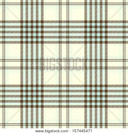 Seamless tartan plaid pattern. Checkered fabric texture print in light aqua green & brown stripes on pale cream yellow background.