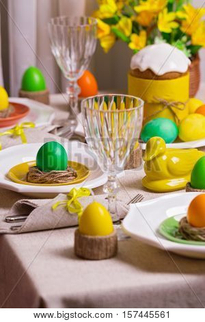 Happy Easter! Serving for the Easter table in the yellow decor.