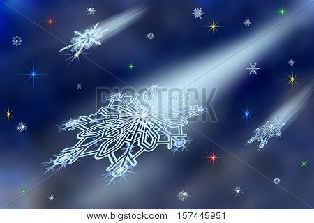 illustration with scene of the fairy-tale night snow