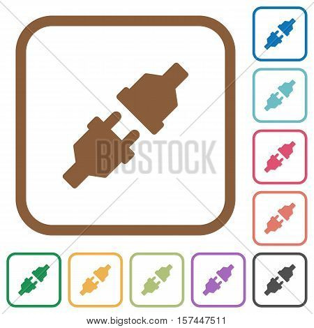 Unplugged power connectors simple icons in color rounded square frames on white background