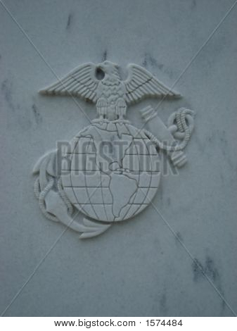 Marines emblem engraved into a marble