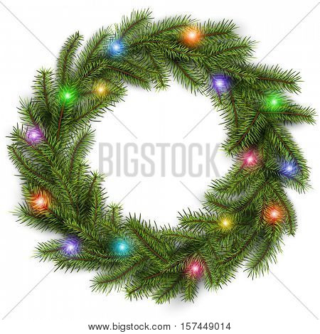 Christmas wreath with colorful lights. Vector christmas background.